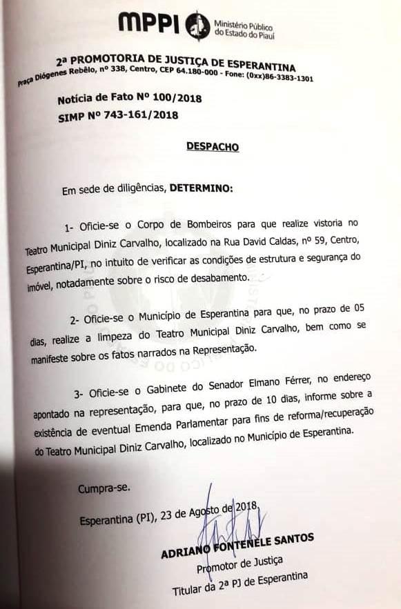 Despacho do Ministério Público (Foto  Divulgação) dd84f95586e58